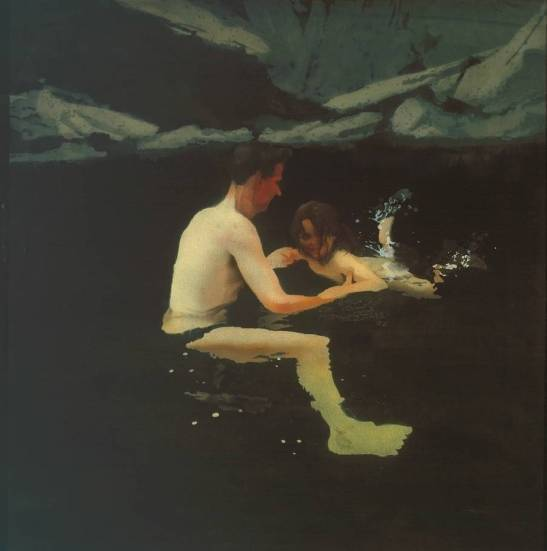 Melanie and Me Swimming 1978-9 by Michael Andrews 1928-1995
